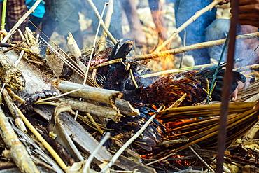 Sacrifice in fire at Pasola festival, Sumba Island, Indonesia