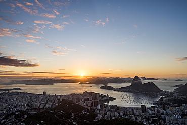 Rio de Janeiro city coastline and Sugar Loaf mountain at dawn seen from Mirante Dona Marta, Brazil