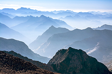 Smoky Sierra Mountains from along the Evolution Traverse, John Muir Wilderness, Kings Canyon National Park, Bishop, California.