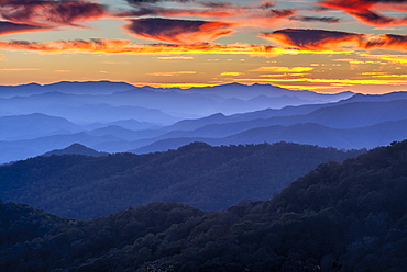 Sunset over the Great Smoky Mountains from Blue Ridge Parkway Overlook, Cherokee, North Carolina.