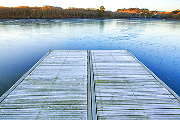 Early morning frost on the banks of the Lake Ter, Lorient; Breton: An Oriant, is a commune and a seaport in the Morbihan department in Brittany in north-western France.