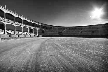 Black and White Image of a Bull Fighting Ring in Ronda, Spain