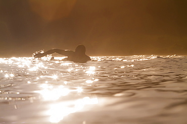 Photograph of silhouette of surfer swimming in sea at sunrise, Lakey Peak, central Subawa, Indonesia