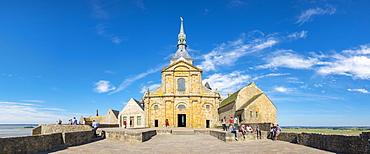 Tourists at Abbaye du Mont-Saint-Michel, Normandy, France