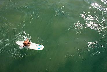 Senior man paddling surfboard next to pier near promenade on Golden Mile, Durban, South Africa