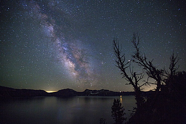 The Milky Way Galaxy visible over Crater Lake National Park in Oregon.