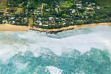 Aerial view of rocky point under surf called Condition Black, Oahu, Hawaii, USA