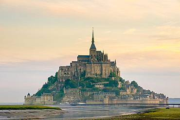 Mont-Saint-Michel Abbey at sunrise, UNESCO World Heritage Site, Normandy, France