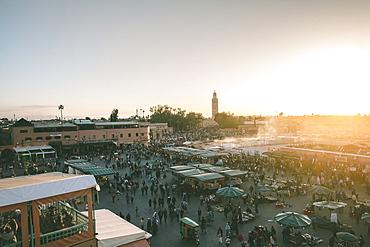 Jemaa el-Fnaa street market at sunset, Marrakesh, Morocco