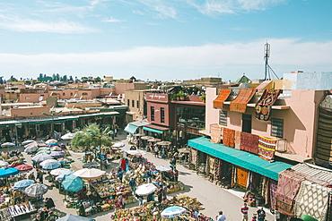 High angle view of Rahba Kedima Square, Marrakesh, Morocco