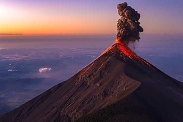 Majestic view of Fuego Volcano erupting at sunrise, Guatemala