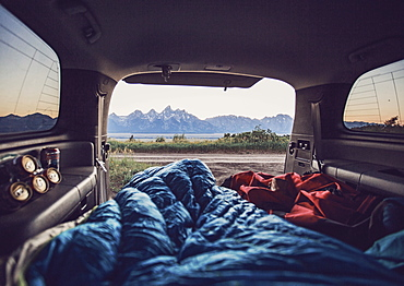 A room with a view. Camping in the back of the car on Shadow Mountain near Grand Teton National Park.