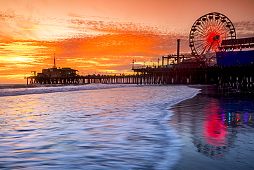 Santa Monica pier at sunset, Los Angeles, California, USA