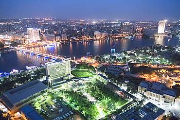 High angle view of illuminated city at night, Zamalek, Cairo, Egypt