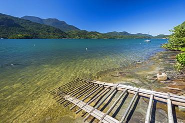 Scenic view of coastline and sea, Saco do Mamangua, Paraty, Costa Verde, Brazil