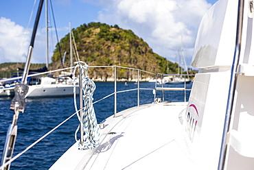 View of sailboat deck, Bourg de Saintes, Isles des Saintes, Guadeloupe