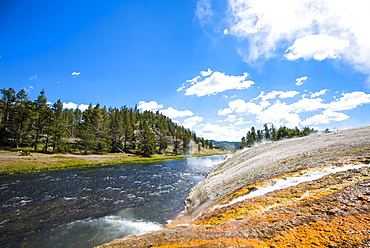 Scenic view of Midway Geyser Basin, Yellowstone National Park, Wyoming, USA