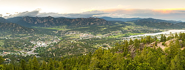 Panorama of downtown Estes Park with Lumpy Ridge in the background, Estes Park, Colorado, USA
