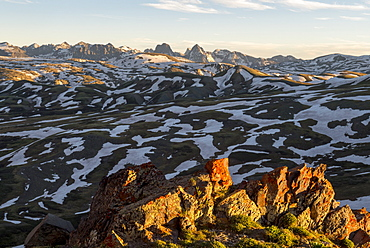 Sunset from Stony Pass looking into the Grenadiers including Wham Ridge and Arrow Peak, Weminuche Wilderness, Silverton, Colorado, USA
