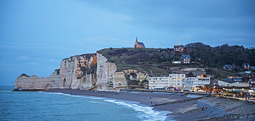 Majestic view of beach and cliffs, Etretat, Normandy, France