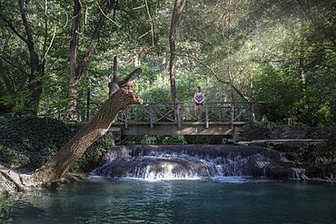 Lone woman standing on footbridge above river in forest, Monasterio de Piedra, Zaragoza Province, Spain