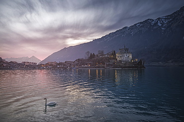 Iseltwald village on shore of Lake Brienz, Bern Canton, Switzerland