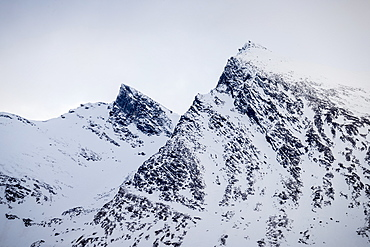 Majestic view of mountains covered with snow, Tromso, Norway