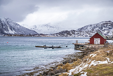 View of shore in winter, Tromso, Norway