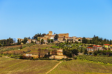 Typical Tuscan landscape with a hill town and vineyard.