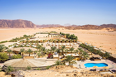 Aerial view of Bait Ali Camp, a traditional Bedouin Arabic camp in Wadi Rum Village, Aqaba Governorate, Jordan