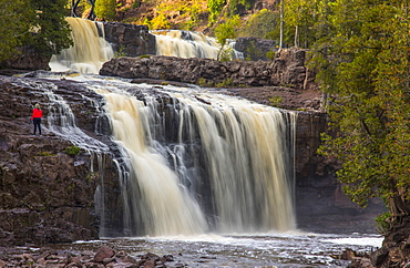 Majestic view of waterfall, Gooseberry Falls, Two Harbors, Minnesota, USA