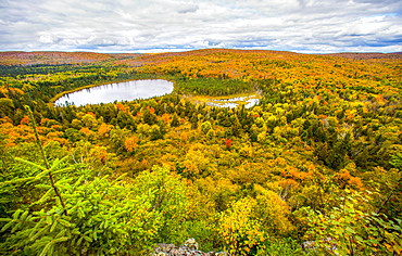 Beautiful nature photograph with scenic view of forest and lake, Oberg Mountain hiking trail, Tofte, Minnesota, USA