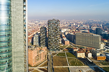 Aerial view of business district, Milan, Lombardy, Italy