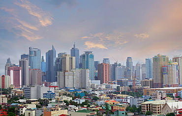 Modern cityscape with skyscrapers at sunset, Makati, Manila, Philippines