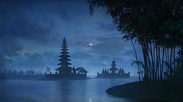Night view of moon over Ulu Danu temple in Lake Bratan, Bedugul, Bali Indonesia