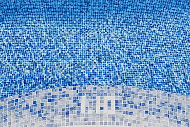 Close-up of the edge of a hotel pool, Mallorca, Balearic Islands, Spain