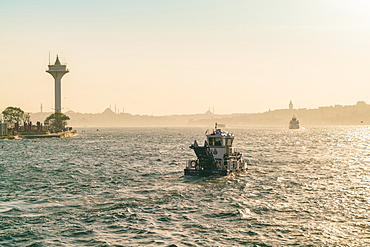 Marmora sea late afternoon with ships sailing near Uskudar and Besektas, Istanbul, Turkey