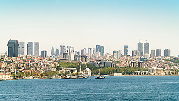 View of sea of Marmara and Istanbul skyline under clear sky, Turkey
