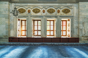 Architectural photograph with windows inside of Bayezid II Mosque, Istanbul, Turkey
