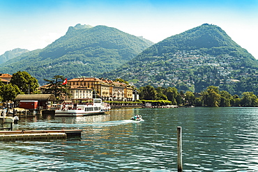 Landscape with village and ship dock at Lucerne Lake, Lucerne,  Nidwalden, Switzerland