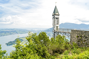 Burgenstock lift on Lucerne Lake shore in picturesque landscape Lucerne, Switzerland
