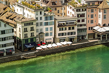 Cityscape with residential houses on riverside, Zurich, Switzerland