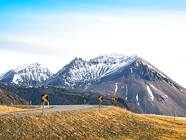 Route 1 (Ring Road) in southern of Iceland in front of mountains, Road 1, South Iceland, Iceland
