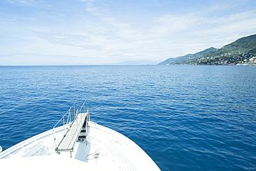 Seascape with boattip overlooking picturesque coastline, Portofino, Liguria, Italy
