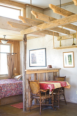 Interior photograph with table inside studio rental room, Summer Lake, Oregon, USA