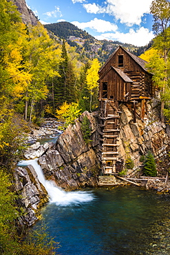The Crystal Mill, a classic Colorado landmark, sits above the Crystal River reminding us of a time long ago, Colorado, USA