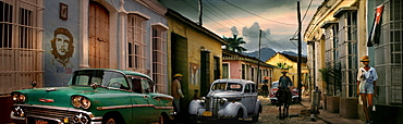 Panorama of street with vintage cars, Trinidad, ?Sancti?Spritus?Province, Cuba