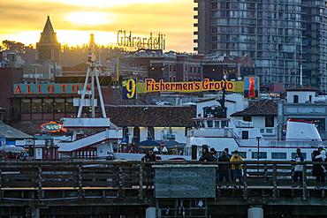 View of Pier 39 at sunset, San Francisco, California, USA