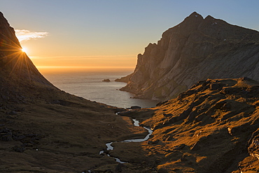 Beautiful natural scenery with valley above Bunes beach at sunset, Moskenesoya, Lofoten Islands, Norway
