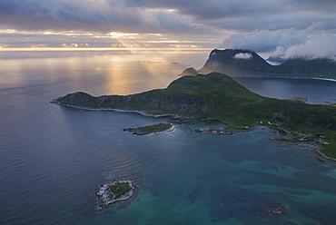 Majestic landscape with coastal mountains at sunrise, Offeroykammen, Vestvagoya, Lofoten Islands, Norway